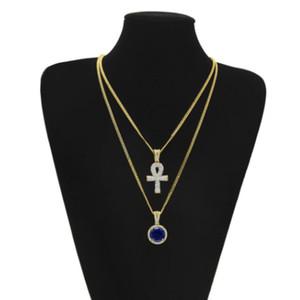 2 en 1 plaqué or Ankh clé égyptienne strass cristal pendentif croix collier pendentif + collier de pendentif rubis bleu ensemble de bijoux hommes hip hop