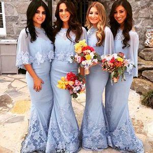 Neue blaue Meerjungfrau Spitze Brautjungfer Kleider Schal High Hals Brautjungfer Kleid Elegante Arabien Hochzeit Kleider Lange Brautjungfer Kleid