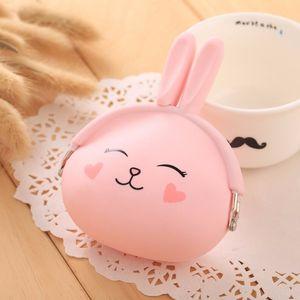 2017 New Fashion Coin Purse Lovely Kawaii Cartoon Rabbit Pouch Women Girls Small Wallet Soft Silicone Coin Bag Kid Gift