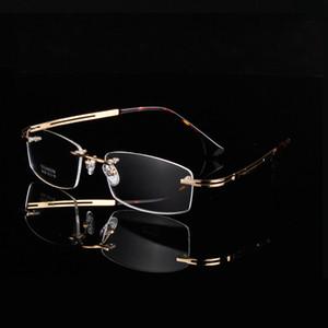 Классический дизайн A + золотые очки без оправы ультра-легкие 9039 Memory Pure-Titanium Business rimless men big square frame рецептурные очки
