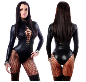 en cuir pour femme sexy Jumpsuit robes noires à manches longues Bodys érotique Latex Leotard Costume Catsuit dongguan_wholesale en stock