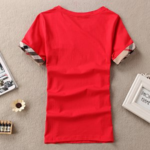 Damen T-Shirts Baumwolle Mode Plaid Kurzarm O-Ausschnitt Damen Tops Tees Marke 100% Damen T-Shirt Top Kleidung Blace Rot Weiß