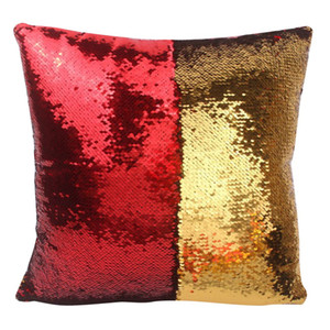 Wholesale- Pillow Case New Fashion VR Discoloration Magic Pillow Two Tone Glitter Sequins Pillows Decorative Cushion Case Covers