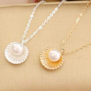 Мода простой жемчужина shell кулон короткое ожерелье женский ключицы ожерелье золото посеребренные Оптовая бесплатная доставка горячие продажа