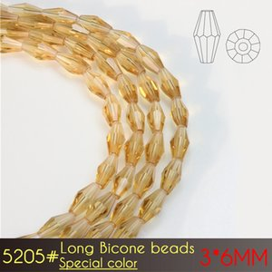 A5205 80pcs set Diy Jewelry and Garment Making Stuff Glass Elongated Bicone Beads Crystal Long Beads 3x6mm Special color Series