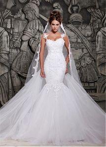 Sirena de novia de tul de correas espaguetis escote apliques de encaje vestido de espalda abierta caliente de la venta vestidos de novia vestido de novia