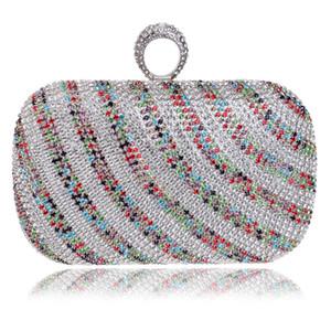 Sacchetto di sera di cristallo delle borse di modo delle borse di stile delle donne variopinte dei Rhinestones con le borse del messaggero della spalla della catena