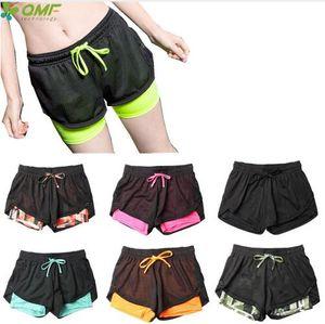 Dry Fit Mujeres Fitness Gym Workout Running Shorts 2 en 1 Sport Yoga Sweat Shorts Skinny Compresión Shorts de entrenamiento elástico Slim