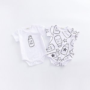 INS 2017 stile coreano vendita calda per bambini pagliaccetto colletto tondo stampa latte pagliaccetto bambini ragazzo estate 100% cotter bambini pagliaccetti