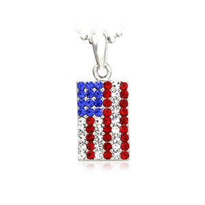 100pcs Lot Patriotic Red White Blue Rhinestones American USA US Flag Star Necklace Pendant 4th of July Jewelry
