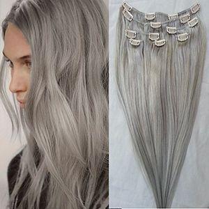 #Gray Grampo em extensões do cabelo humano 120g / set 14 '' - 26 '' peruana grampo de cabelo humano Na 7pcs Extensões / set clipe de prata Remy Cabelo Humano