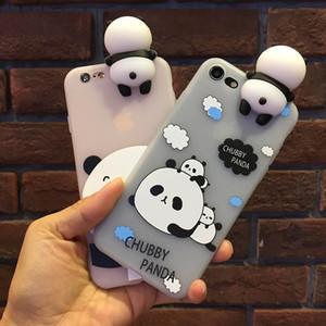 Belle 3D douce de cas de téléphone paresseux panda poupée pour l'iphone 6 6s Plus 7 7Plus dessin animé doux téléphone TPU couvercle arrière