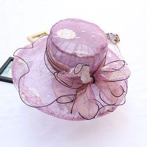 와이드 가장자리 여름 모자 organza 모자 교회 모자 플로피 비치 모자 장착 모자 넓은 여성용 모자