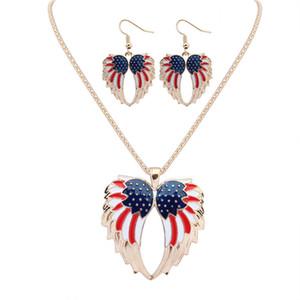 NUOVA Moda Infinity Hawk's wings Ciondolo collane orecchini 18KGP / argento 925 Drip arcobaleno in lega di gioielli set gioielli eleganti per le donne