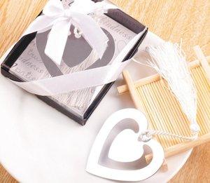 Gümüş Doğum Günü Paslanmaz Bebek Duş Kalp Şekli CS007 Düğün Için Çift Parti Çelik Bookmark Favor Hediye 20 adet Xasch