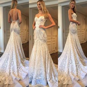 2017 Gorgeous Summer Boho sirena encaje vestidos de novia de bohemia amor sin espalda apliques de encaje por encargo Berta vestidos de novia