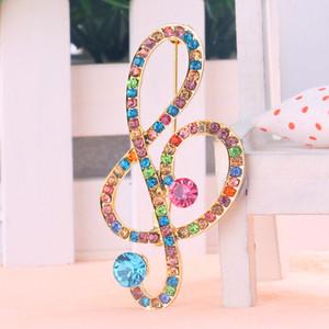 AMOURJOUX Bianco / Strass colorati Note musicali Spille a forma di pin Per le donne Lega di colore oro Spilla Spilla Moda Broche