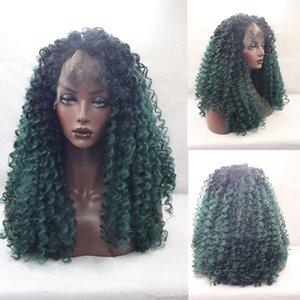 Isıya dayanıklı afro kinky kıvırcık sentetik saç dantel ön peruk ücretsiz bölüm bebek saç ombre siyah / yeşil kadın için 150% 24 inç