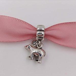 정통 925 스털링 실버 비즈 북극곰 매달려 매력은 유럽 판도라 스타일의 보석 팔찌 목걸이에 적합