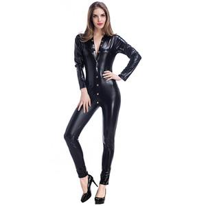 섹시한 버튼 긴 소매 Jumpsuit 여자 코스프레 고양이 옷 Faux Leather Bodysuit Club 파티 복장 장대 댄스 의상