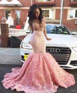 2k17 New Black Girls Illusion Maniche lunghe Mermaid Prom Dresses in rilievo 3D Floral Backless Floor Length Formal Party Abiti da sera