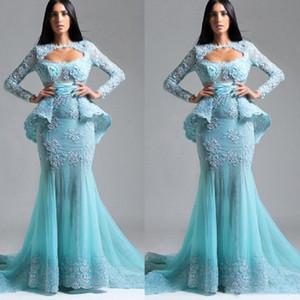 Saudi-Arabien Long Sleeves Prom Kleider Light Blue Lace Appliques Peplum Abendkleider Tüll Mermaid Formal Party Dress Vestidos
