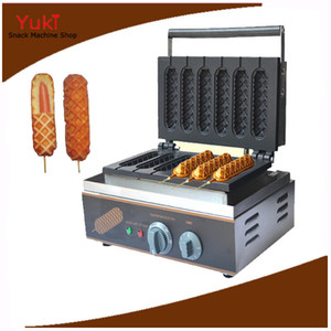 110 / 220V Hot Dog Waffle Maker Commercial 6 PCS Croustillant Hot Dog Gaufrier Maker Machine Électrique Muffin Gaufre Chien Maker