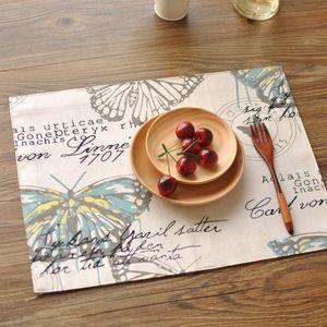الجدول ماتس ماتس الوسادات أدوات المائدة الطباعة فراشة مزدوجة سميكة القماش مكان الجدول حصيرة الجدول عداء مع ميول منديل شرشف الطاولة