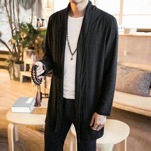Artı Boyutu Giyim Yaz Sonbahar Erkekler Ince Hırka Ceket Pamuk Keten Uzun Ceket Erkek Düz Renk Moda Rahat Palto Tişörtü
