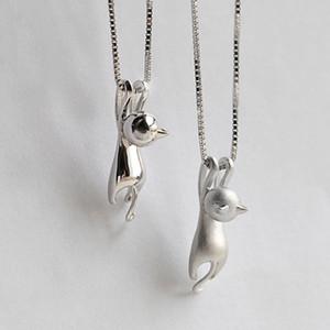 Wholesale- neue Art und Weise reizende silberne Halskette Kleine nette Katze Anhänger Odd Fancy Schmuck Charm-Anhänger-Halskette