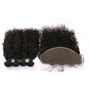 Cierre frontal de encaje de oreja a oreja 13x6 con 4 paquetes Onda de agua sin procesar Color natural El cabello humano mongol teje con frontal FDSHINE