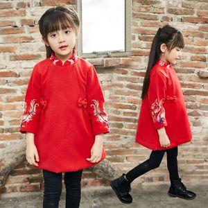 Vestiti di Cheongsam ricamati delle ragazze di stile cinese 2018 Vestito da nuovo anno di inverno di autunno Abbigliamento per bambini Vestiti della neonata Vestiti spesso dei bambini