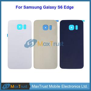 Qualidade superior para samsung galaxy s6 borda g925 g9250 g925f tampa da bateria traseira porta da caixa traseira com adesivo 3 cores