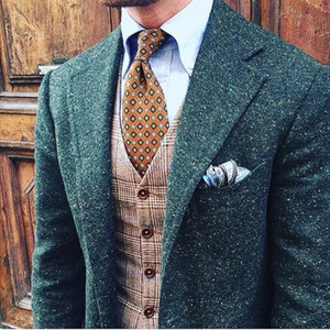 2019 Mens verde salpicada Donegal Tweed Suit Custom Made Brown Mens Tweed terno Único Breasted Men lapela do terno Notch (Jacket + Pant + Vest)