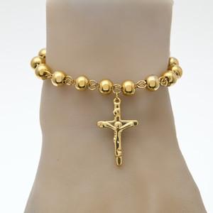 Unisexe 14K Plaqué Or Chapelet Perle Bracelet En Acier Inoxydable Croix Avec Jésus Charmes Pendentif Lien Chaîne Religion Femme pulseira