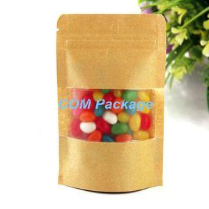 18 * 26 cm Suave Papel Kraft Stand Up Bag Con Matte Clear Window Ziplock Almacenamiento de alimentos Embalaje Doypack Bolsa Snack Candy Paquete