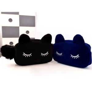 Atacado-Mulheres Purse das Crianças Saco Dos Miúdos Dos Desenhos Animados Gato Maquiagem Bolsa de Flanela Saco Cosmético monedero gato 9IF7