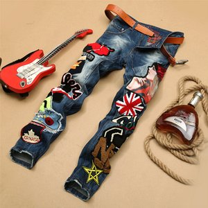 Wholesale-Personality Embroidery Beauty Badge Patch Jeans Men Ripped Jeans Fashion Brand Biker Jeans Hip Hop Denim Slim Fit Casual Pants