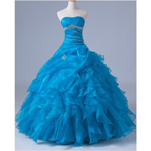 Real Photo New Light Blue Quinceanera Dresses Ball Gown Beaded Ruffles Organza Floor Length Classic Graduation Party Gowns W8007