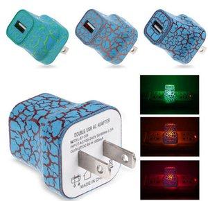 5 V LED Işık USB Duvar Şarj Crack Stil Glow Aydınlatma Seyahat Şarj ABD AB Tak Güç Adaptörü iphone Samsung Akıllı Telefon