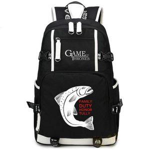 Игра престолов рюкзак честь долг рюкзак горячая школьный Teleplay рюкзак Спорт школьный мешок Открытый день пакет