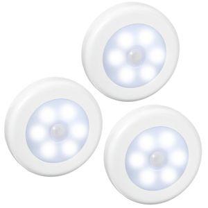 6 Sensore di movimento a batteria a LED Sensore di luce automatica a LED per movimento notturno a LED per armadi, corridoi