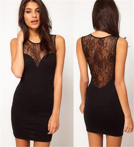Clubwear Femmes Summer Dress Backless Femmes See-through Sans Manches Splicing Lace Party Clubbing Mini Dress Sexy Décontracté Robe