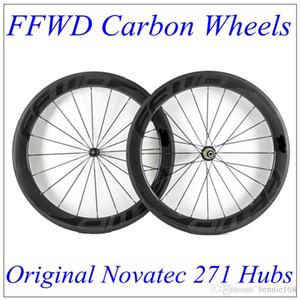 FFWD 2017 Siyah Çıkartmaları Tam Karbon Bisiklet Tekerlekleri 60mm Derinlik 23mm Ile 3 K Matt Tekerlekler Karbon Novatec 271 Hub 20/24 Siyah Konuşmacı