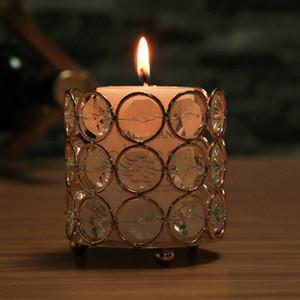 도매 웨딩 실린더 아크릴 글로브 센터 피스 메탈 골드 크리스탈 Candelabras 캔들 홀더 Candle Jar