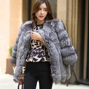 coat 2017 Outono Inverno casaco quente casaco New Silver Fox Fur outerwear das mulheres moda imitação de peles Tamanhos-4XL
