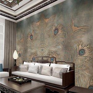 جديد الصينية الطاووس ريشة التلفزيون خلفية خلفية غرفة نوم غرفة المعيشة محبوكة النسيج خلفية خلفية التخصيص feifan