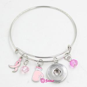 Nuovo arrivo Snap Gioielli Breast Cancer Awareness Pink Ribbon Fighting Box Guanto espandibile filo regolabile Snap Bangles Bracciale per le donne