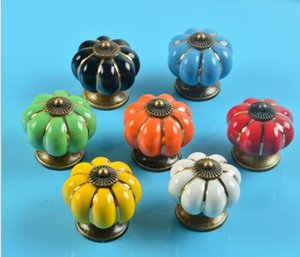7 Colors Pumpkins Kitchen Cabinets Knobs Bedroom Cupboard Drawers Ceramic Door Pull Handles With Screws 4*4*2.8 cm