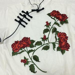 20 pcs rosa flor de ferro em remendos remendo bordado para roupas jean casaco parches cheongsam vestido de cocktail patchwork apliques de tecido diy